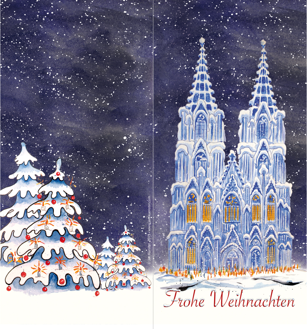 greeting card frohe weihnachten jan k nster bonn germany. Black Bedroom Furniture Sets. Home Design Ideas